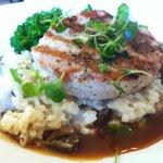 Delius Chef's 3 Course Tasting Menu Entree Boneless Pork, Mushroom Risotto, Broccolini, Demi Gla