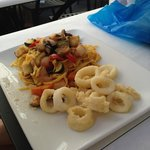 Fettuccine with ratatouille and calamari, special of the day