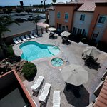 Bird's Eye view of the heated pool and spa