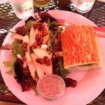 Italian chicken sandwich and pear walnut salad. Amazing!