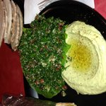 Cilantro hummus and tabbouleh salad