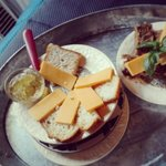Homemade gluten free white bread at this B&B! And that's mint-jalapeno jelly, also homemade.