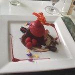 Dessert - Intense Chocolate Experience - Dark Chocolate Brownie with Fresh Raspberry Sorbet and