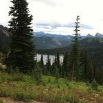 A view of the Naches trail and the lake we happened upon on our hike
