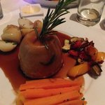 Steak and Kidney Pudding with new potatoes, honey glazed carrots + Mediterranean vegetables