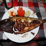 Freshly caught jacket fish cooked by Nyomans wife.