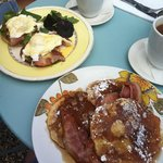 Eggs Benedict and Bacon Syrup Pancakes