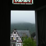The early-morning view from the turret window (the fog cleared later!)