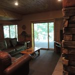 family room area with walkout patio