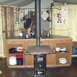 Kitchen area with wood burning stove