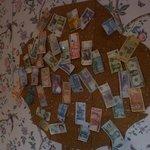 wall of international bills