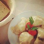 buckwheat pierogi with mushroom sauce