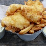 Ligtly battered halibut and chips. Yummy!