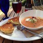 grilled cheese and tomato bisque with crab