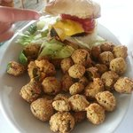 Burger with Fried Okra