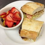 Crab Cake Sandwich with Fruit