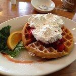 Light and crisp strawberry waffle.