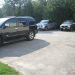 Parking lot beside pool