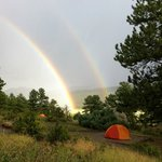 Double rainbow over neighbors tent