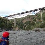Paddling under the Nenana-river Bridge.