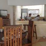 breakfast is prepared in the villa