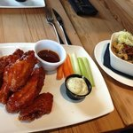 order of chicken wings (1/2 price tue-fri 3-6) and side order of Mac n cheese