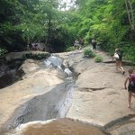 Walking to the waterfall