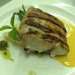 Bacon wrapped Fish with Mango & Mustard Sauce