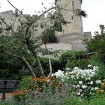 View of Warwick castle from the garden bench