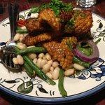 Moroccan spiced calamari with Turkish bean salad