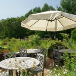 White parasol in the garden