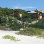 Beach view of bungalows.