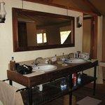 Sinks. Shower stall L, Toilet stall R
