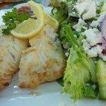 pan fried Haddock with Greek Salad