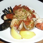 Lobster shrimp clams and mussels paella