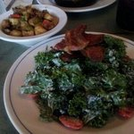 Kale salad with home made bacon. Yummmmiiii