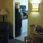 View looking into the kitchenette area from the living room