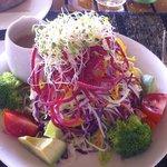 Salad from The Shambhala menu (brocolli, avocado, tomato, carrots, beets...)