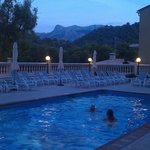 Pool area just after sunset