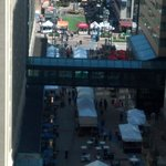 The street fair in the Peace plaza between the Kahler and the Marriott