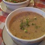 Sauerkraut soup and chicken noodle soup