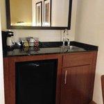 Kitchenette (small icebox, sink, coffee machine, safe)