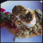 Halibut with pesto and beets