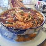 """A seafood curry that was very spicey, very salty, and very """"meaty."""" Excellent"""