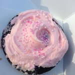 The Kate - chocolate with pink icing and sprinkles