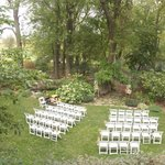 Wedding ceremony set-up, view from upstairs