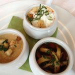selection of 3 soups as starter