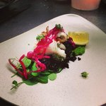 Fresh squid with pesto,wild venus rice,red onion confit and thyme