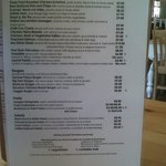 October 2012 menu