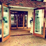 The hotel entrance, with colourful wedding confetti